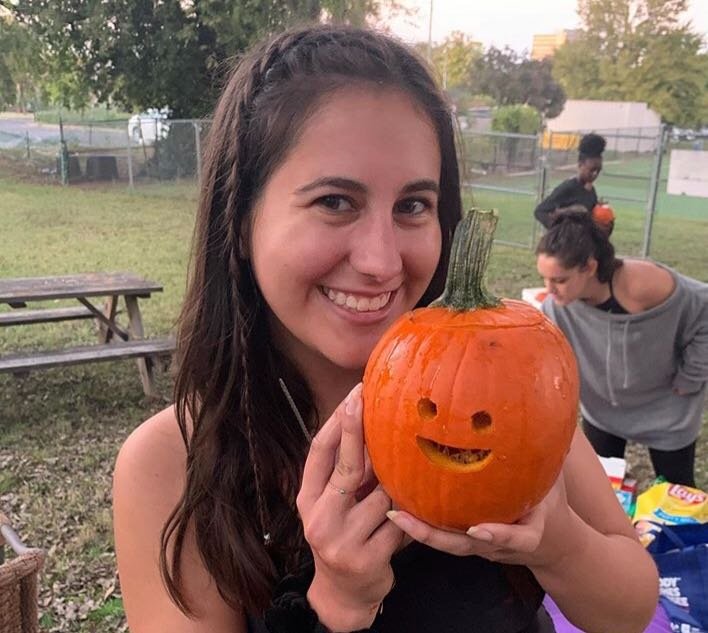 The VU Community Garden will be composting pumpkins, such as this one carved by junior Reilly Menchaca, after Halloween season. (Photo by Maya Sandel)