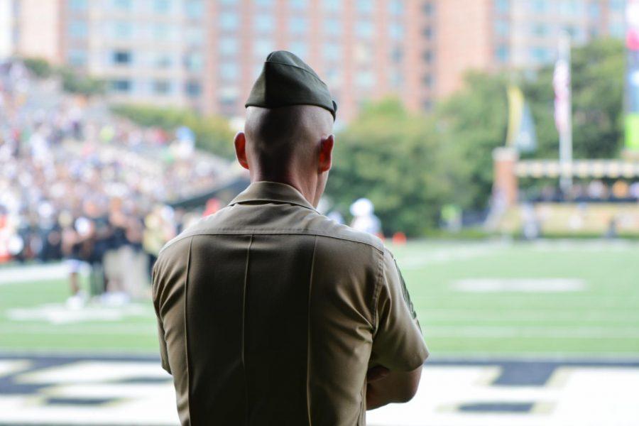 A+Vanderbilt+ROTC+officer++looks+onto+Vanderbilt+stadium%0APhoto+by+Brett+Szklaruk