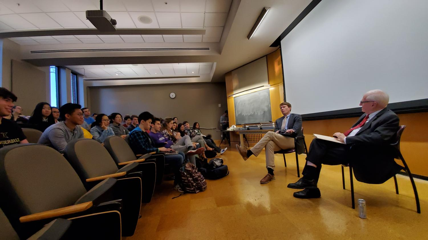 Timothy Meyer, Vanderbilt Professor of Law (left) and Claude Barfield, AEI resident scholar (right) discussing US-China trade relations at the event Nov. 5 in Buttrick 101. (Photo courtesy Jacob Schroeder)