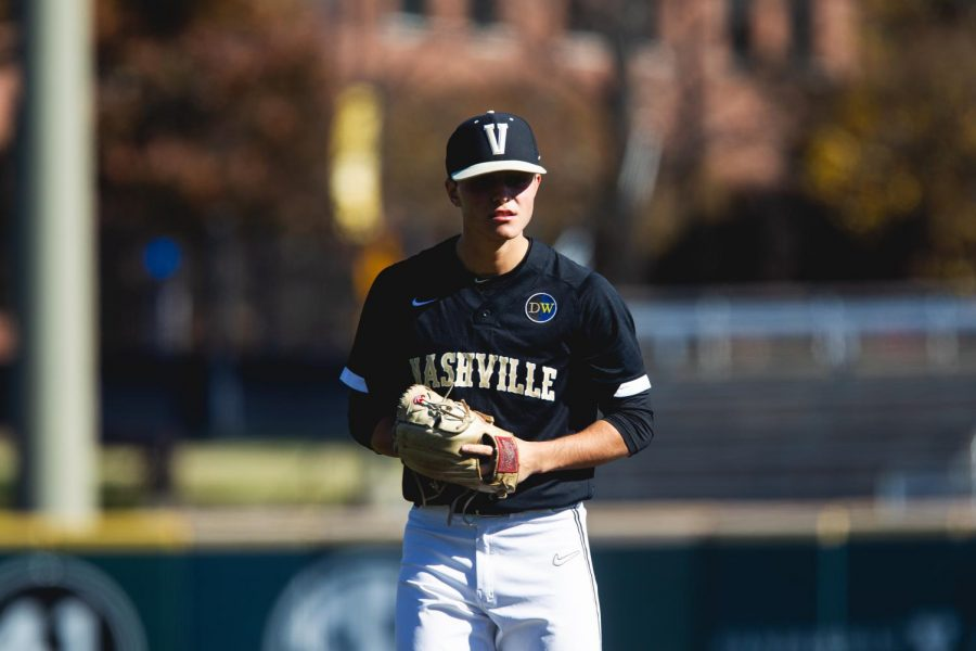 Jack Leiter pitches from the windup in Vanderbilt's 3-2 loss to Michigan in the two teams' fall scrimmage.