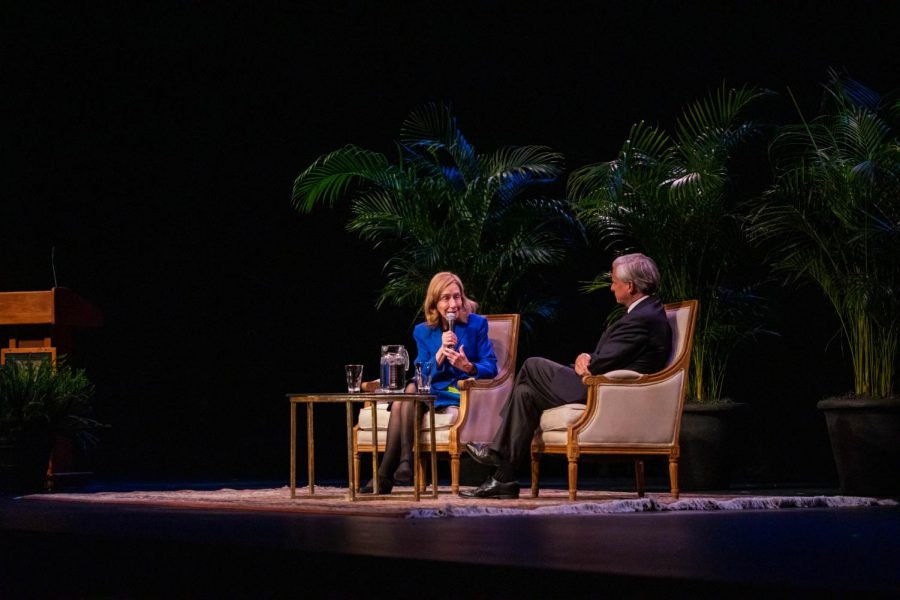 Pulitzer+Prize-Winning+historian+Doris+Kearn+Goodwin+on+stage+at+Langford+Auditorium+with+fellow+Pulitzer+Prize-Winning+historian+and+Vanderbilt+professor+Jon+Meacham+on+Nov.+3%2C+2019+%28Photo+by+Emily+Gon%C3%A7alves%29