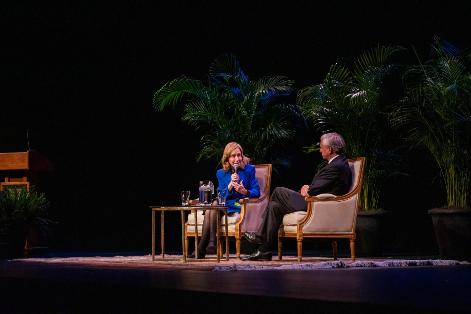 Pulitzer Prize-Winning historian Doris Kearn Goodwin on stage at Langford Auditorium with fellow Pulitzer Prize-Winning historian and Vanderbilt professor Jon Meacham on Nov. 3, 2019 (Photo by Emily Gonçalves)