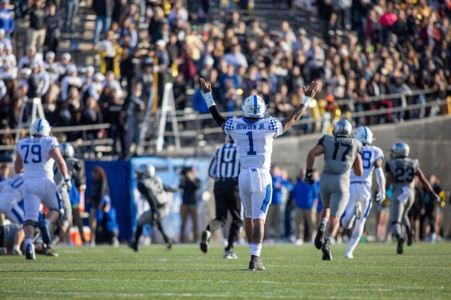 Bowden Jr. celebrates a touchdown as Kentucky defeats Vanderbilt 38-14 on Saturday, November 16, 2019.