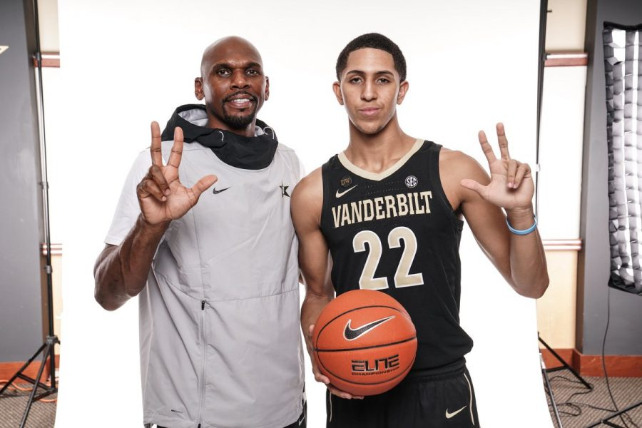 Stute+poses+with+Vanderbilt+head+mens+basketball+coach+Jerry+Stackhouse+after+his+commitment+on+September+8.+%28Photo+Courtesy+Myles+Stute%29