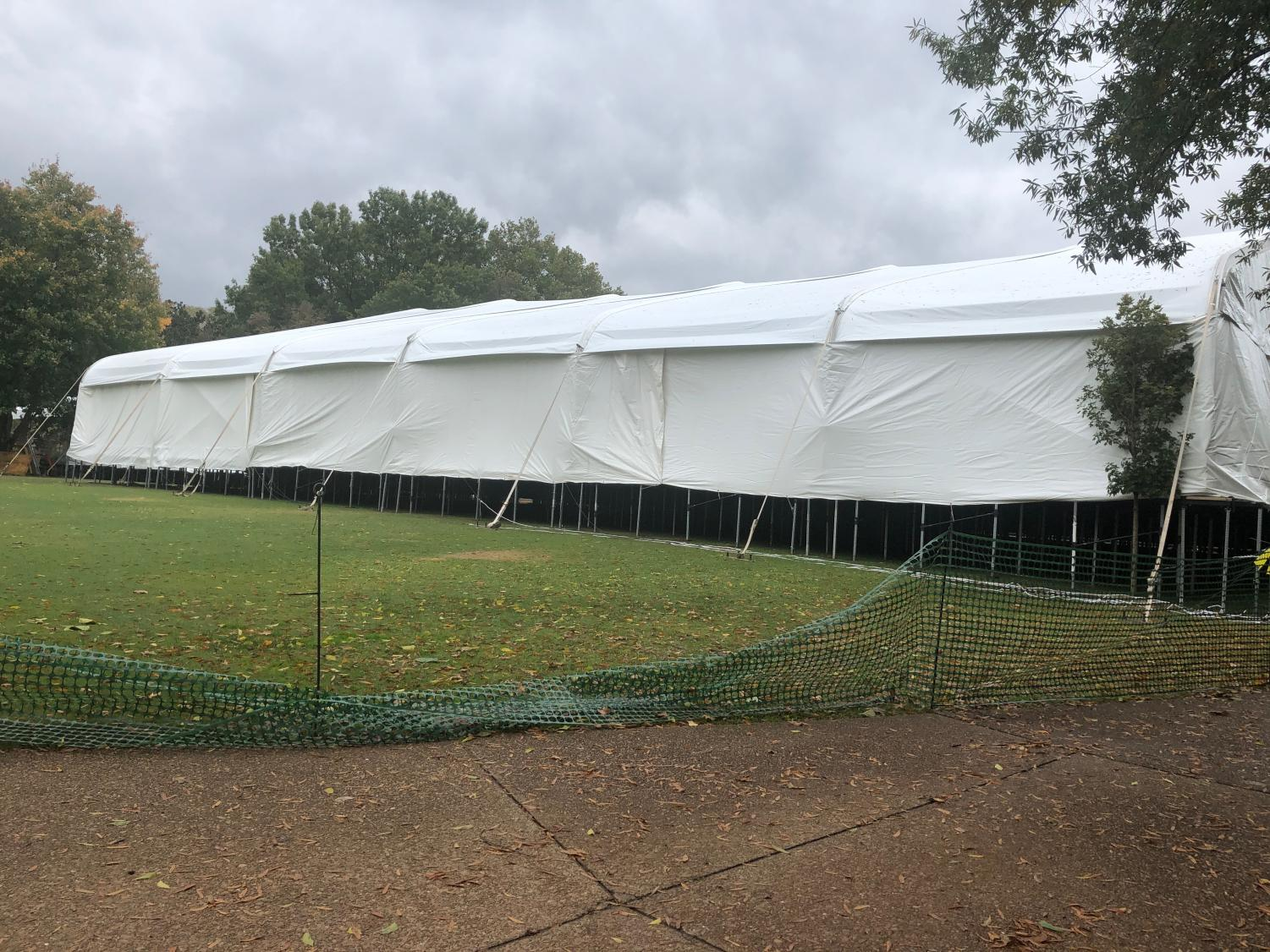 The structure is both covered and raised above Alumni Lawn. (Photo by Rachel Friedman)
