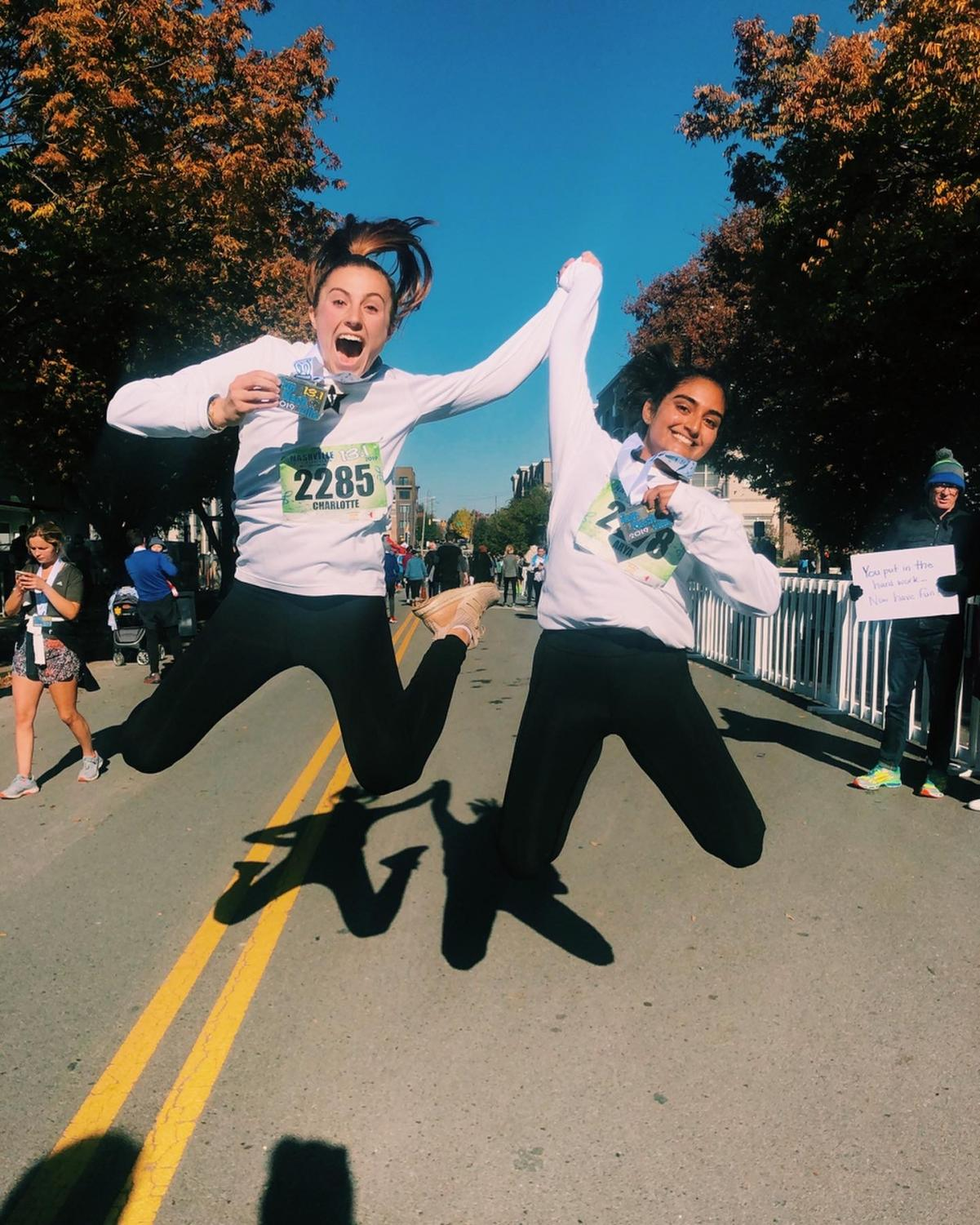 First-years Arya Chawla and Charlotte Edmunds celebrate the completion of the yearly Nashville Half Marathon. (Photo by Maggie Victory)