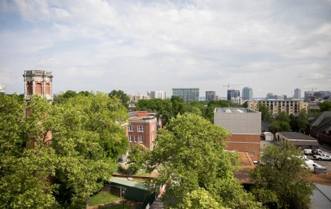 Image of trees and Kirkland Hall from above