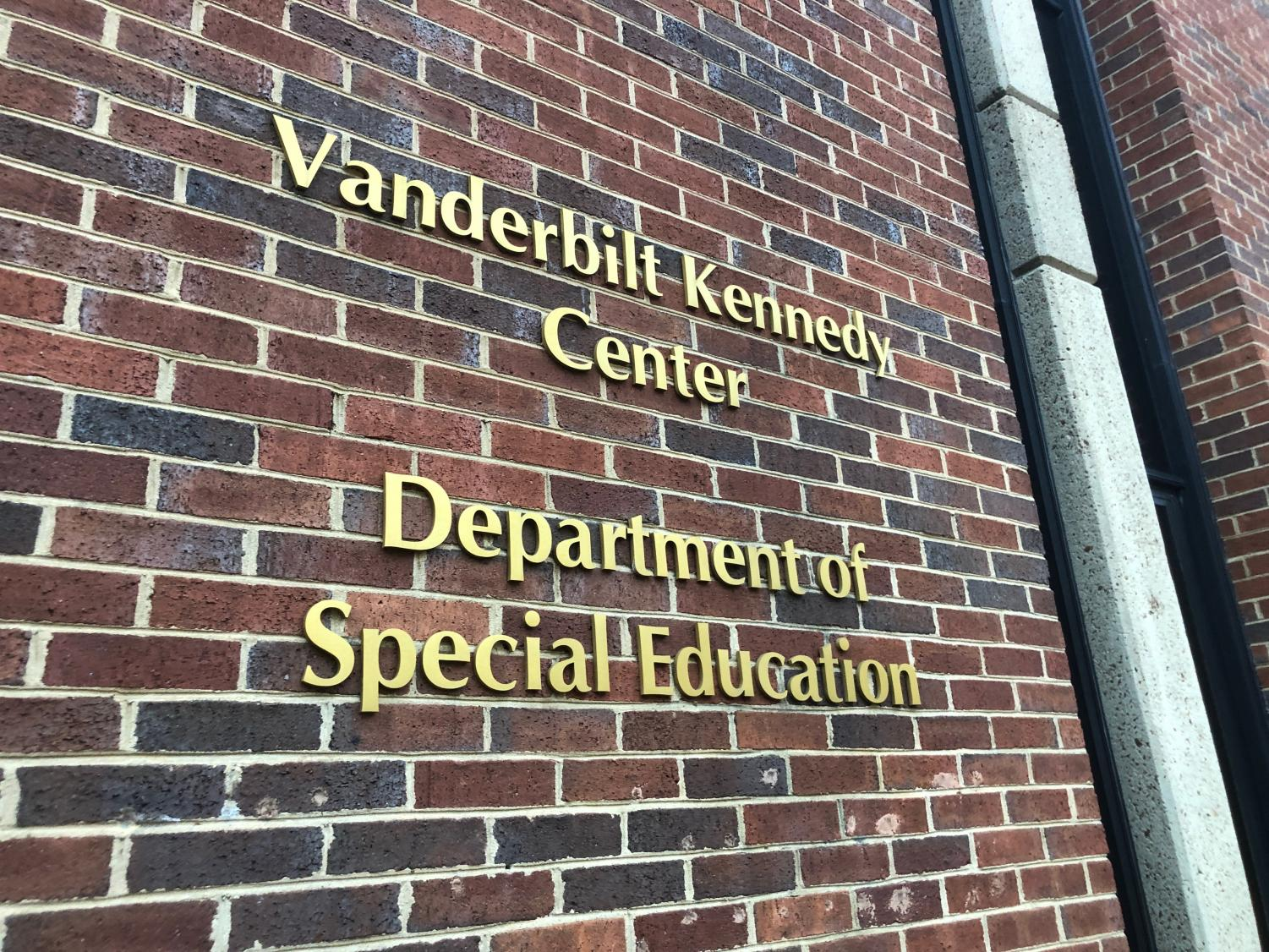 The Vanderbilt Kennedy Center Department of Special Education, which is near the pedestrian bridge between Commons and main campus along 21st Ave.