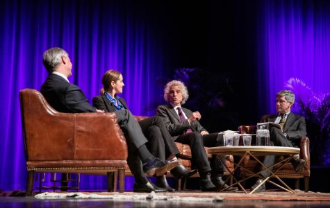 From left to right, Jon Meacham, Amanda Little, Steven Pinker and Carl Zimmer on stage at Langford Auditorium Dec. 3.