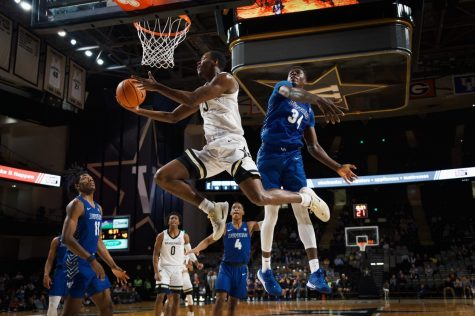 Clevon Brown finishes at the rim in the second-half of Vanderbilt's home victory over Buffalo.