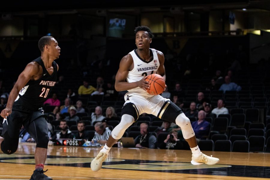 Aaron+Nesmith+drains+a+step-back+jumper+in+Vanderbilt%27s+scrimmage+against+Clark-Atlanta.