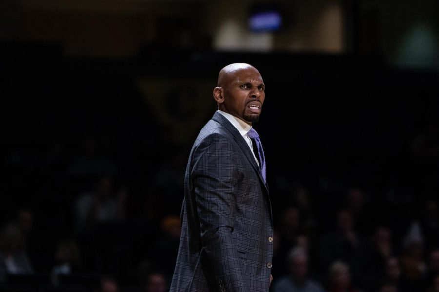 Jerry Stackhouse paces down the sidelines during the team's victory over Southeast Missouri State.