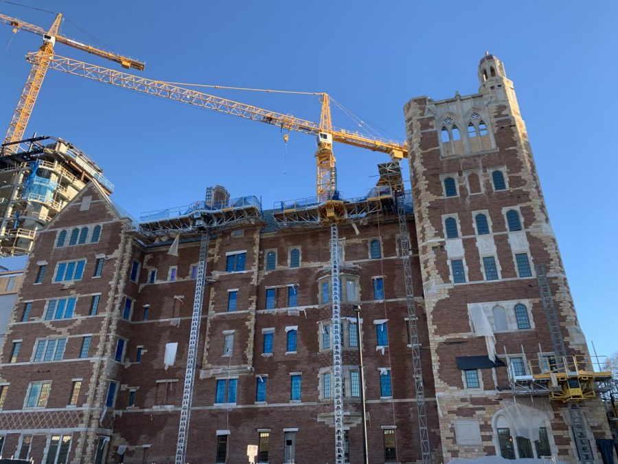 Nicholas S. Zeppos Residential College will be complete for student move-in Aug. 2020, but the West End tower, visible in the far left of this photo, will not be completed until spring 2021.