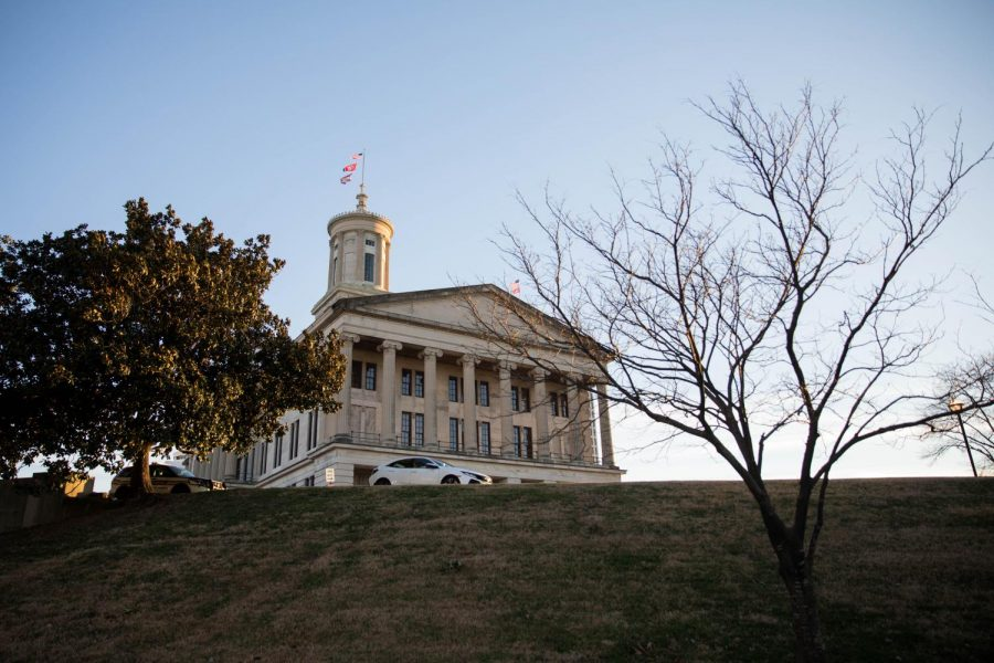 A low angle of the Tennessee State Capitol building