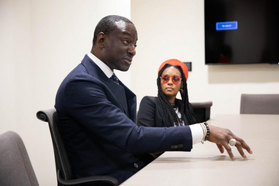 Janelle Monáe and Yusef Salaam speak with the Hustler in E. Bronson Ingram residential college.