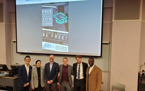 Pictured from left to right: Bing Chen, Dr. Lesley Turner, Jason Delisle, Jacob Schroeder,  Joseph Humphries, and Joshua Higgs after the AEI discussion on Thursday night.