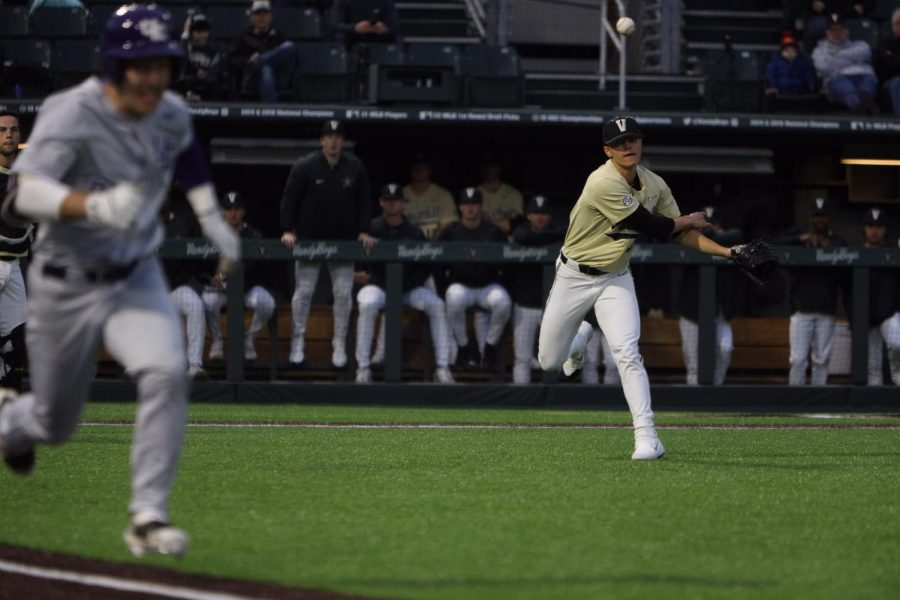 Commodores starting pitcher Jack Leiter fields a bunt in a win over the Evansville Aces