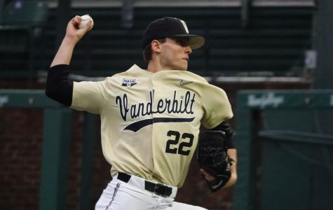 Jack Leiter (22) winds up to pitch in Tuesday's win over Evansville.