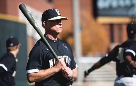 Coach Tim Corbin looks on during Vanderbilt's fall scrimmage against Michigan.