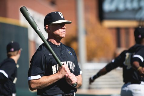 Coach Tim Corbin looks on during Vanderbilt