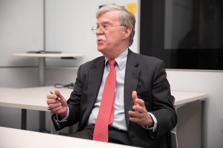 John Bolton sat down with reporters Feb. 17 prior to his talk with former Obama-era National Security Advisor Susan Rice.