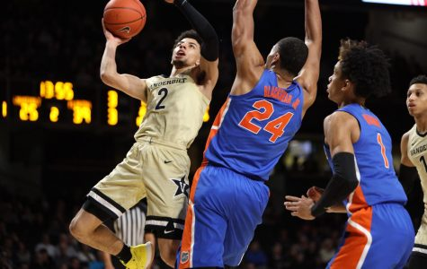 Scotty Pippen Jr. (2) goes up for a lay-up during Vanderbilt's 61-55 loss to the Florida Gators.