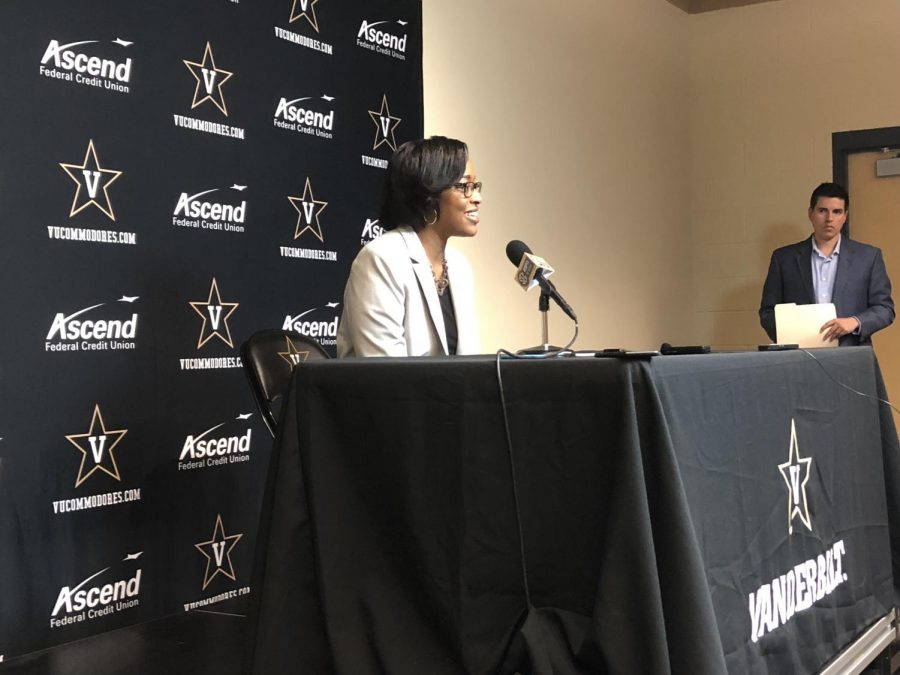 Candice Storey Lee addressed the media Wednesday night ahead of Vanderbilt men's basketball's game against LSU.