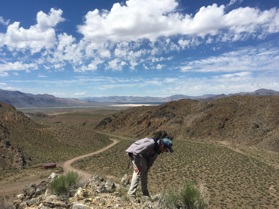 Professor+Neil+Kelley+collecting+fossils+in+Nevada+in+June+2019.