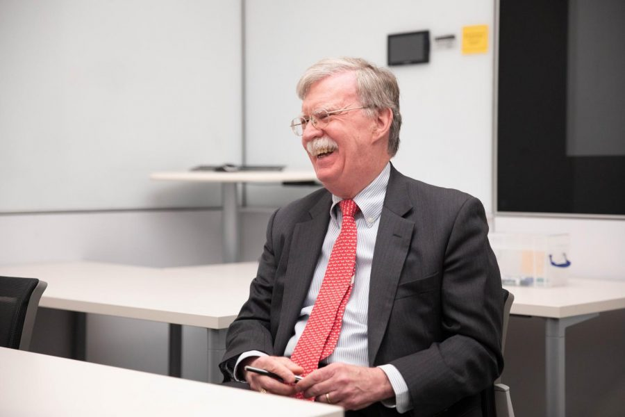 John Bolton laughs during his interview with The Hustler.
