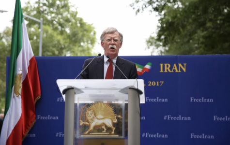 John Bolton, speaking at the gathering of the People's Mujahedin of Iran in front United Nations headquarters, New York City