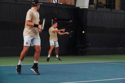 Christiaan Worst (left) and Max Freeman (right) earned the doubles victory against MTSU on Sunday afternoon.