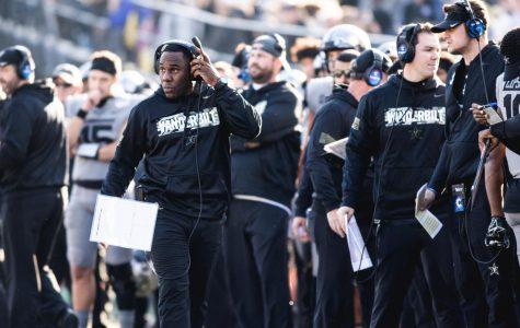 Head coach Derek Mason walks the sideline during Vanderbilt's game against Kentucky.