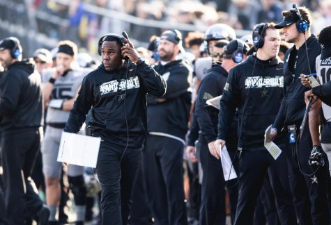 Head coach Derek Mason walks the sideline during Vanderbilt