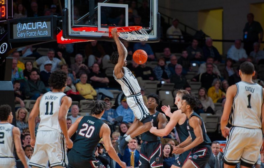 Saben Lee throws down a dunk for two of his 19 points in Vanderbilt's 83-74 win over South Carolina.