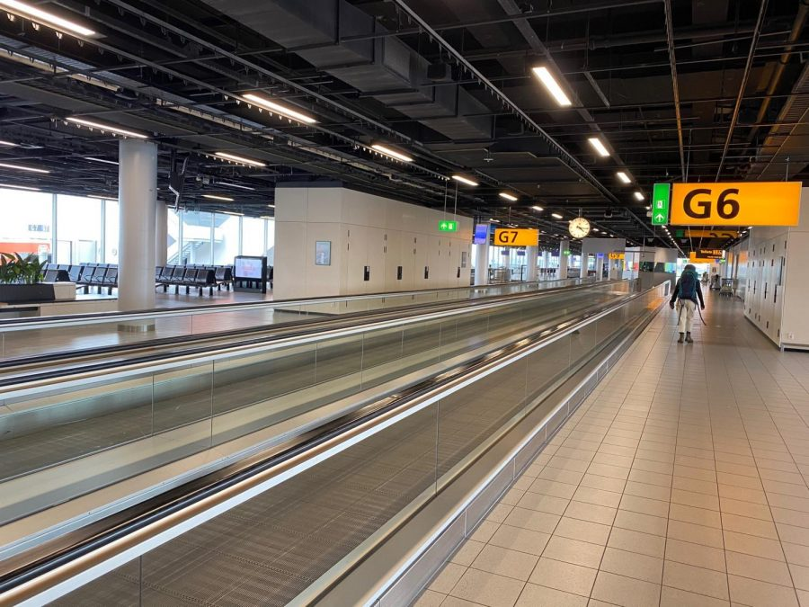 The deserted Amsterdam Airport on March 14. Vanderbilt students all over the world have had to grapple with the impacts of international travel restrictions. (Photo courtesy Isaac Stovall)