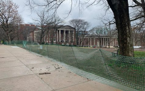 A small amount of debris from the storm is seen on Commons. Campus buildings were unaffected.