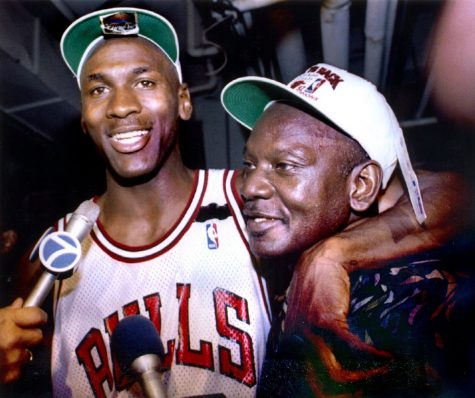 Michael Jordan and his father James celebrate the Bulls 1992 NBA Championship. (Photo courtesy of Sue Ogrocki/Reuters via Getty Images)