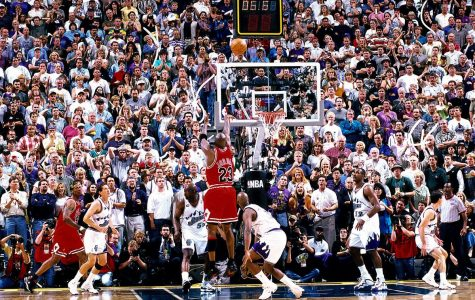 Michael Jordan hit the winning basket with 5.2 seconds remaining to cap their sixth championship in eight seasons. (Photo courtesy Getty/Danny Crawford)