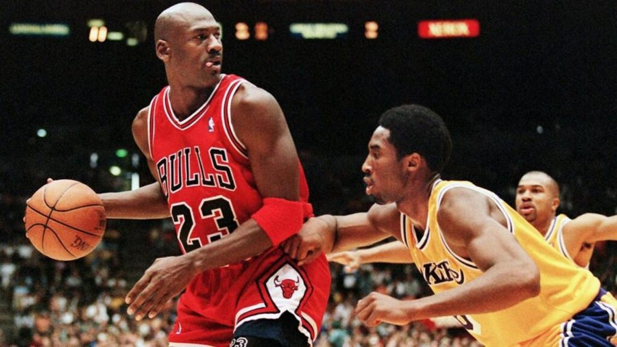 Michael Jordan and Kobe Bryant face off on February 1, 1998 in Los Angeles, CA. (Photo courtesy of Vince Bucci/AFP via Getty Images)