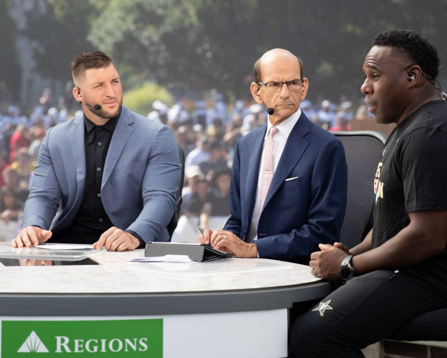 Tim Tebow and Paul Finebaum interview Vanderbilt head coach Derek Mason on the set of SEC Nation