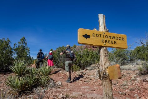 a group of backpackers walk past a sign that says cottonwood creek