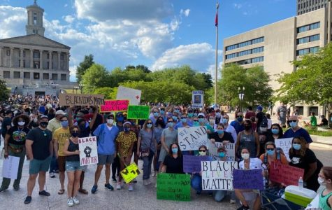 Nashville healthcare workers gather in Legislative Plaza to protest police brutality as part of a larger Black Lives Matter march, Saturday, June 14. (White Coats March for Justice/Sent to The Hustler by Katlin Elrod)