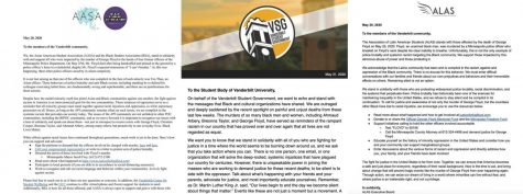 Asian American Student Association and Black Student Association joint statement, Vanderbilt Student Government statement and Association for Latin American Students statements pulled from Instagrams. Black text on white backgrounds with organization logos.