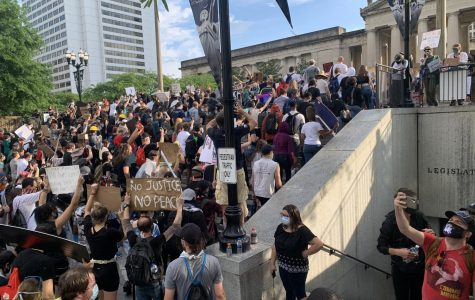 Protestors conclude the Black Lives Matter march at the Tennessee State Capital as one protestor memorializes the event with a selfie. (Hustler Multimedia/Krista Panageas)