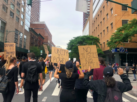 Protestors march in New York City.