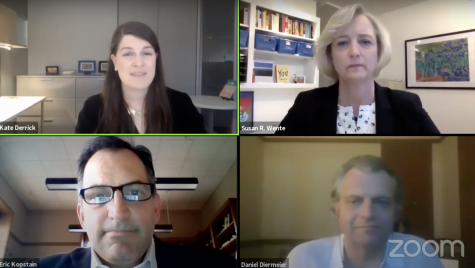 The virtual town hall featured messages and announcements from Diermeier, Wente and Kopstain, and then closed with a Q&A open to viewers. Screenshot taken from Vanderbilt