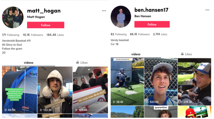 Matt Hogan and Ben Hansen are just two of the players who have been active on TikTok. Screenshot from TikTok desktop.