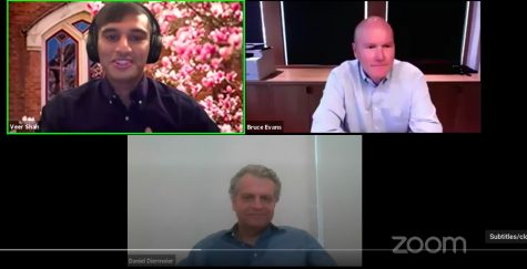 Screenshot of Zoom call with incoming Chancellor Diermier on bottom, Veer Shah with Vanderbilt Zoom background in left top corner, and Bruce Evans in top right corner. Bruce and Diermeier are smiling
