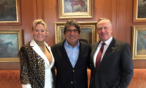 Chancellor Emeritus Nicholas S. Zeppos (center) with Sarah and Ross Perot, recent donors of $8 million to Vanderbilt. (Vanderbilt University/Photographer Unknown)