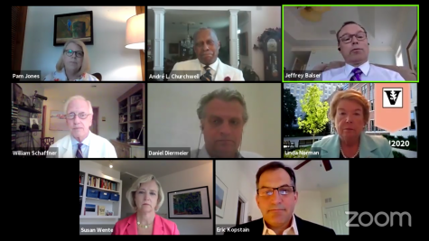 A screenshot of the virtual town hall featuring members of Vanderbilt administration and medical experts.
